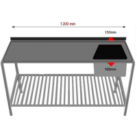 Pesupöytä alahyllyllä  INOX 1200PPRA