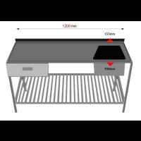 Pesupöytä alahyllyllä ja laatikolla  INOX 1200PPRL