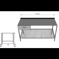 Työpöytä laatikolla ja alahyllyllä INOX 1200TPRL